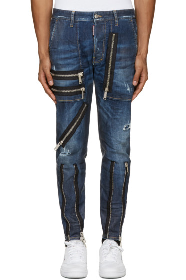 Dsquared2 - Navy Zippered Military Jeans