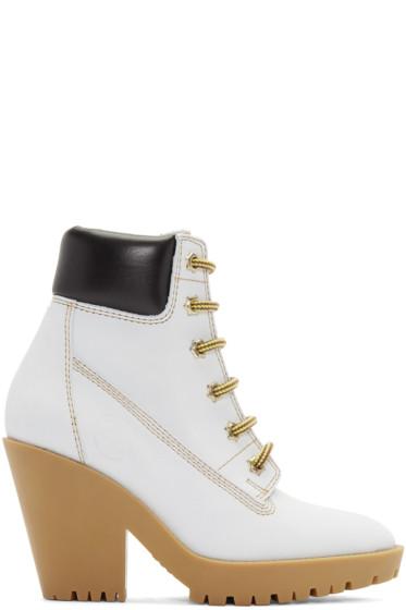 Maison Margiela - Off-White Suede Lace-Up Boots