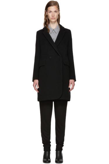 MM6 Maison Margiela - Black Wool Double-Breasted Coat