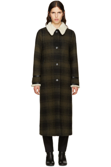MM6 Maison Margiela - Green Wool Check Coat