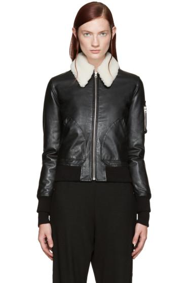 MM6 Maison Margiela - Black Shearling Collar Bomber Jacket