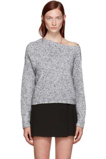 T by Alexander Wang - Black & White Off-the-Shoulder Sweater