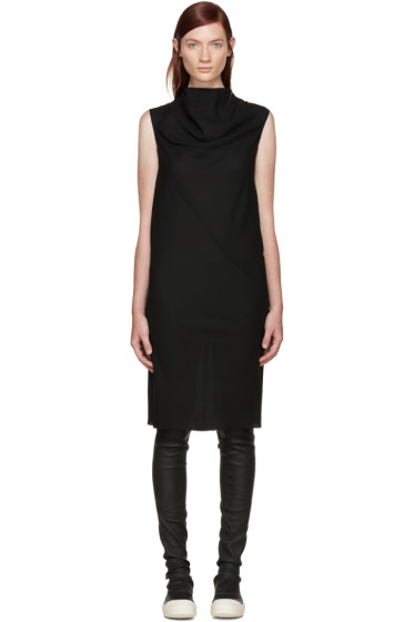 Rick Owens - Black Wool Mesh Bonnie Dress