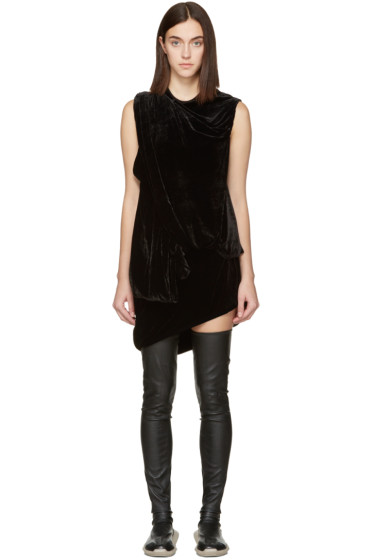 Rick Owens - Black Velvet Draped Dress