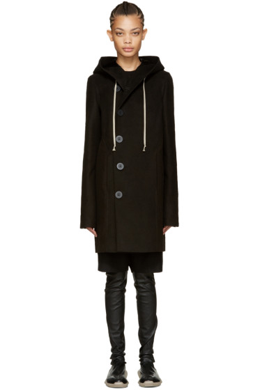 Rick Owens - Black Hooded Pea Coat