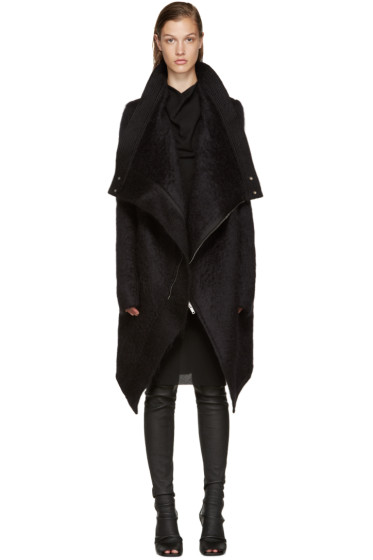 Rick Owens - Black Mohair Explore Saturn Coat