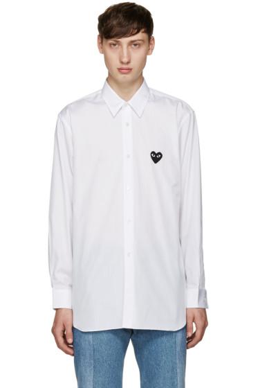 Comme des Garçons Play - White Poplin Heart Shirt