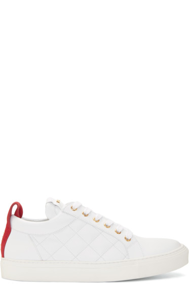 Balmain - White Quilted Leather Sneakers