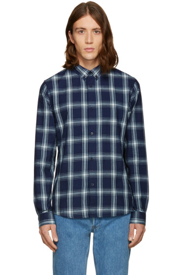 A.P.C. - Navy Twill Plaid Shirt