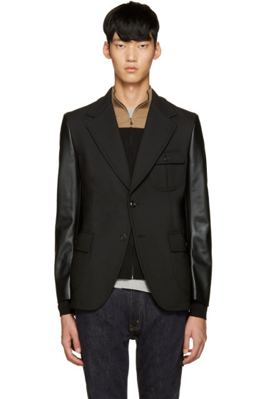 Junya Watanabe - Black Faux Leather Sleeve Blazer