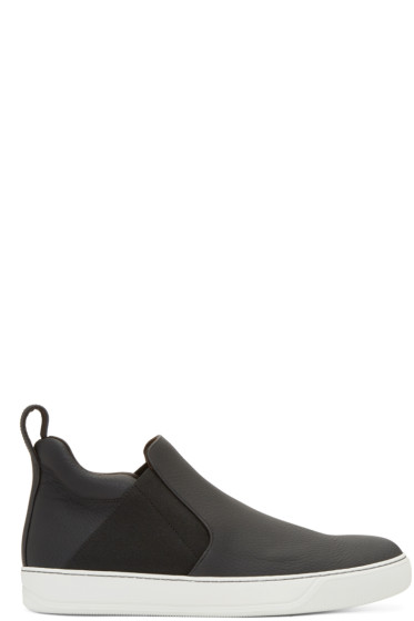 Lanvin - Black Leather Slip-On Sneakers