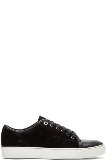 Lanvin - Black Leather & Nubuck Classic Tennis Sneakers