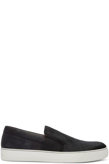 Lanvin - Black Calf-Hair Slip-On Sneakers