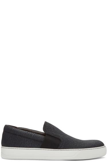 Lanvin - Black Shark-Embossed Slip-On Sneakers