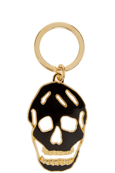 Alexander McQueen - Black & Gold Cut-Out Skull Keychain