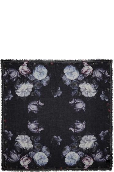 Alexander McQueen - Black Midnight Bloom Scarf