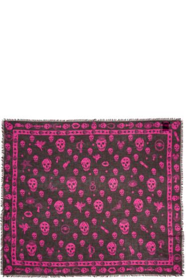 Alexander McQueen - Black & Pink Chiffon Skulls Scarf