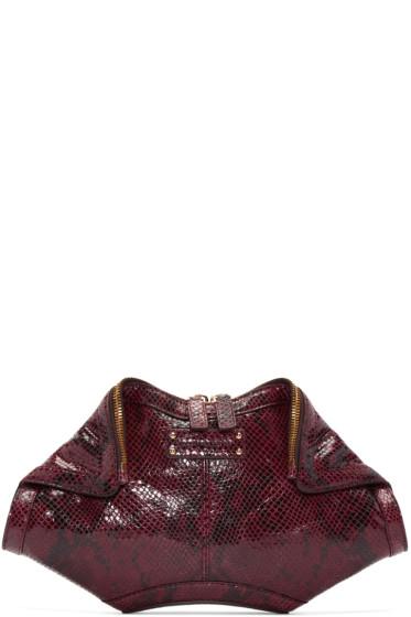 Alexander McQueen - Burgundy Python-Embossed Small De Manta Clutch