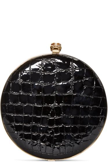 Alexander McQueen - Black Croc-Embossed Round Skull Clutch