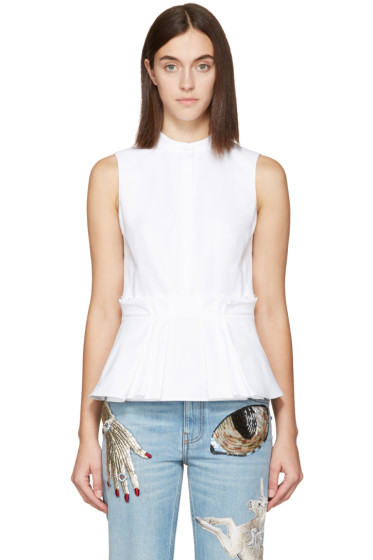 Alexander McQueen - White Pleated Peplum Top