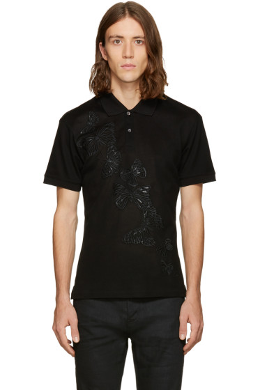 Alexander McQueen - Black Embroidered Butterfly Polo