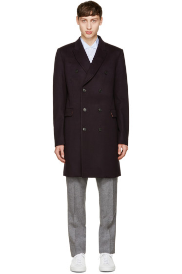 Paul Smith - Navy Wool Double-Breasted Coat