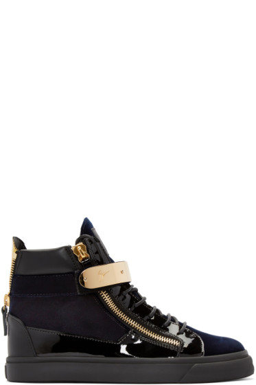 Giuseppe Zanotti - Black & Navy Velvet London High-Top Sneakers