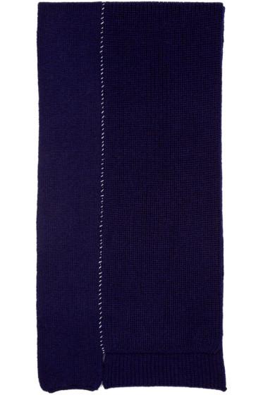 Raf Simons - Navy Wool Panelled Scarf