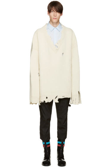 Raf Simons - White Oversized Destroyed Sweater