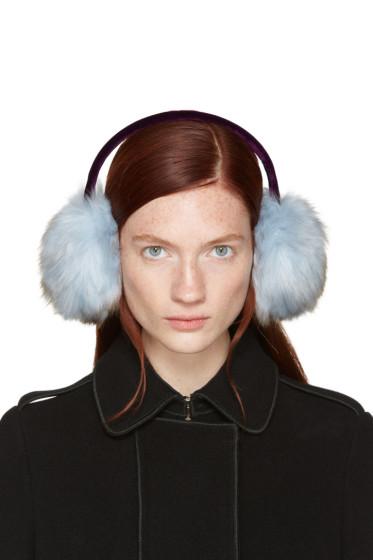 Carven - Blue Faux-fur Ear Muffs