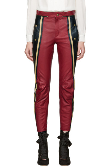 Chloé - Black & Red Leather Biker Pants