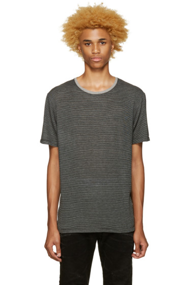 Pierre Balmain - Black & Grey Striped T-Shirt