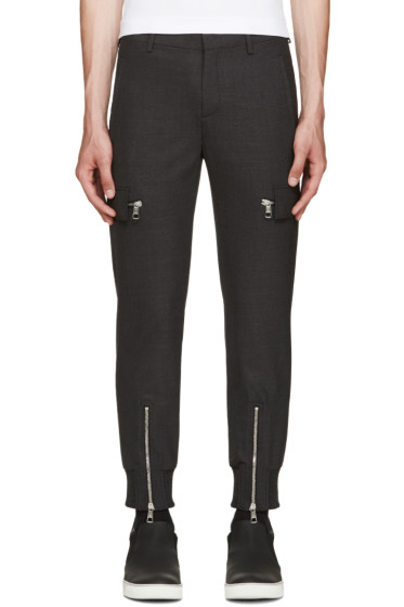 Neil Barrett - Grey Wool Cargo Trousers