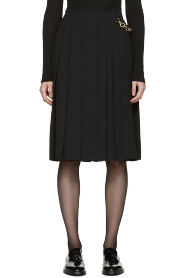 Burberry - Black Silk Pleated Wrap Skirt