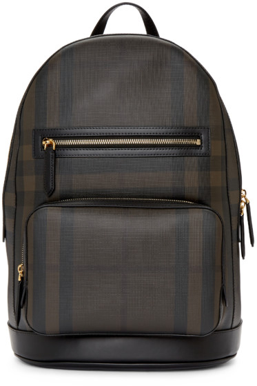 Burberry - Black & Brown London Check Backpack