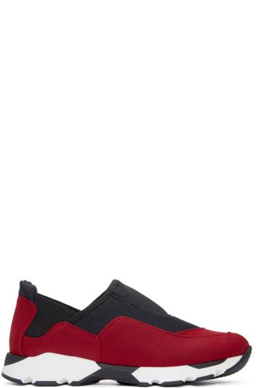 Marni - Black & Red Neoprene Slip-On Sneakers