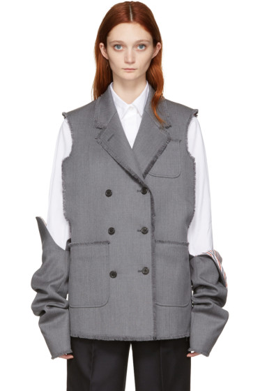Thom Browne - Grey Wide-Shoulder Sack Vest