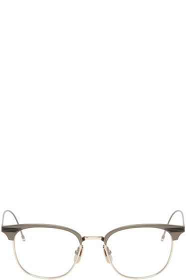 Thom Browne - Gunmetal & Gold Round TB-104 Glasses