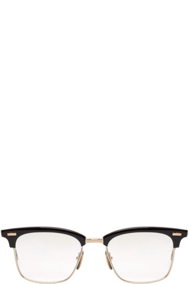 Thom Browne - Navy & Gold Horn-Rimmed Glasses
