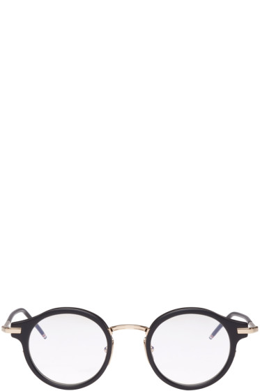 Thom Browne - Black & Gold Round Glasses