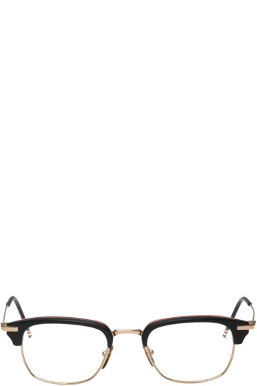 Thom Browne - Black & Gold Horn-Rimmed Glasses