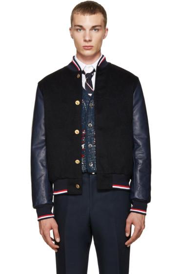 Thom Browne - Black Cashmere Varsity Bomber Jacket