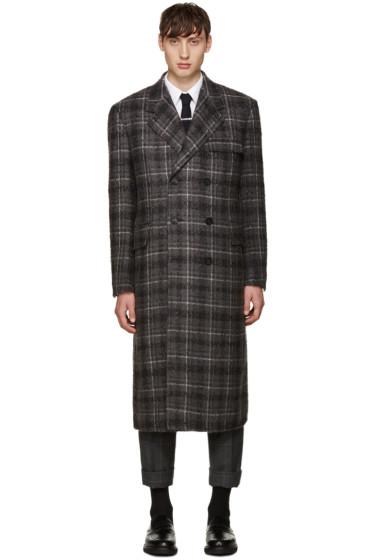 Thom Browne - Grey Tartan Wide Shoulder Coat