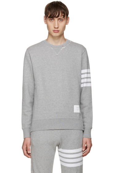 Thom Browne - Grey 4 Bars Pullover
