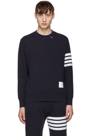 Thom Browne - Navy 4 Bars Pullover