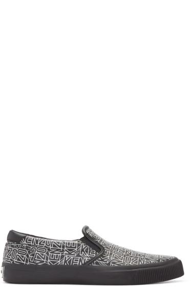 Kenzo - Black Leather Flying Tiger Slip-On Sneakers