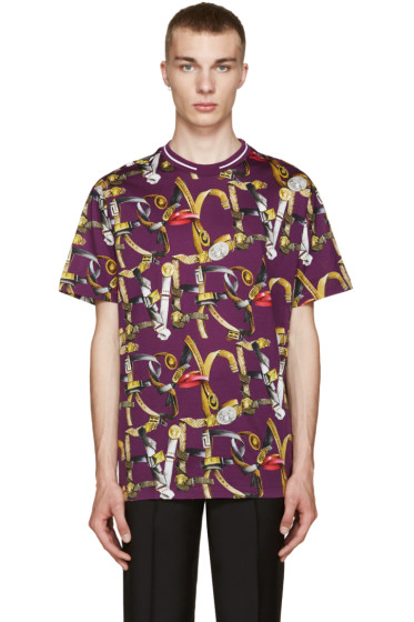 Versace - Purple Belt Print T-Shirt