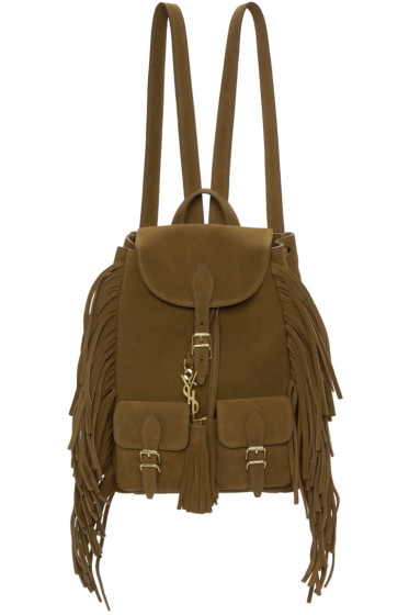 Saint Laurent - Brown Suede Small Festival Backpack