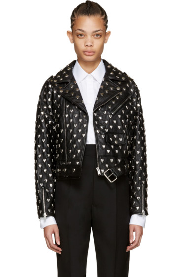 Saint Laurent - Black Motor Zach 80's Studs Leather Jacket