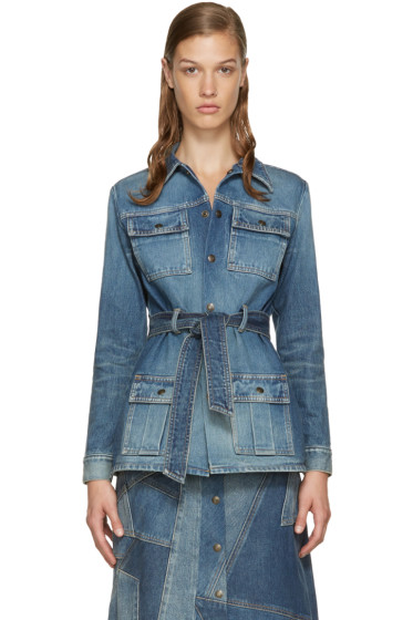 Saint Laurent - Blue Belted Denim Jacket